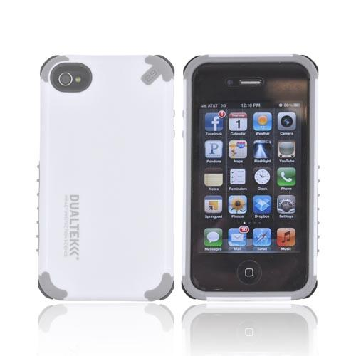 Original PureGear AT&T/ Verizon Apple iPhone 4, iPhone 4S DualTek Extreme Shock Hybrid Hard Case w/ Screen Protector, 02-001-01176 - White/ Gray