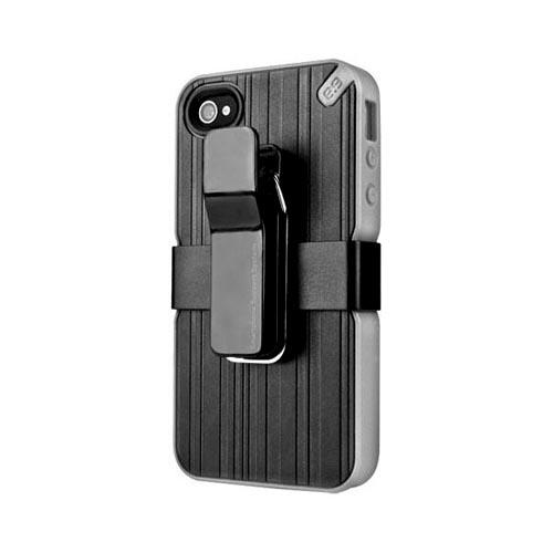 Original PureGear AT&T/ Verizon Apple iPhone 4, iPhone 4S Utilitarian Hybrid Hard Case w/ Silicone Border, Kickstand, Beltclip & Screen Protector, 02-001-01257 - Black/ Gray