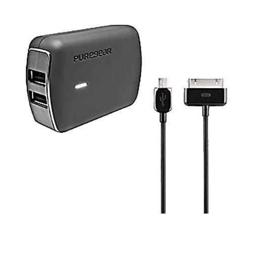 PureGear Black Universal One-for-All Travel Charger w/ Apple & Micro USB Data Cables (2100 mAh), 02-001-1223 - (Works with iPad 1/2/3 & MFI Certified!)