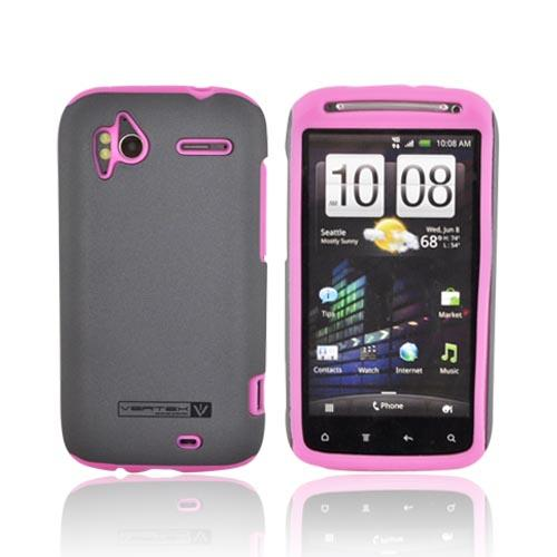 Original Naztech Vertex HTC Sensation 4G Hard Cover Over Silicone w/ Screen Protector - Gray/ Hot Pink