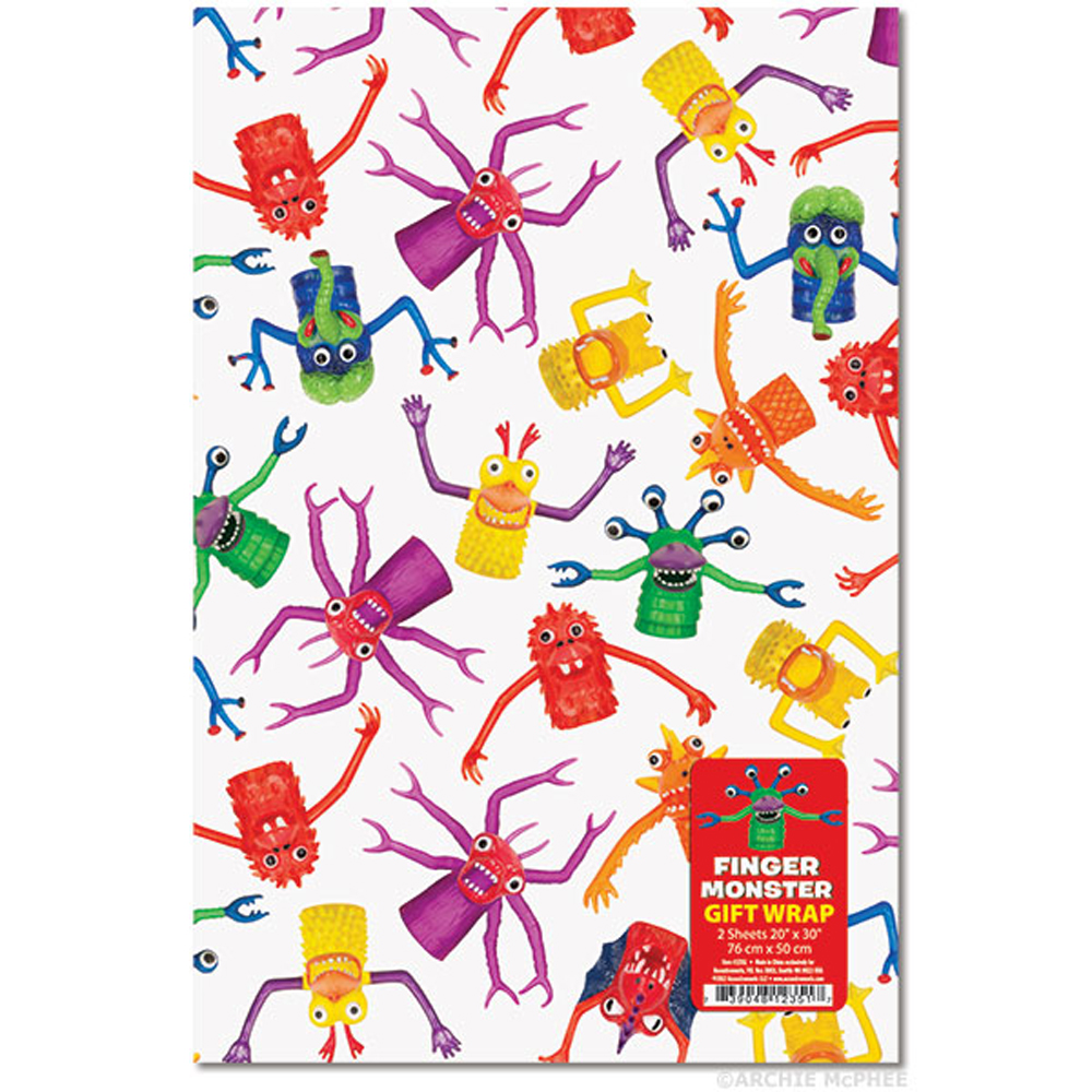 "Finger Monsters Gift Wrap 2 Pack - (20"" x 30"")"