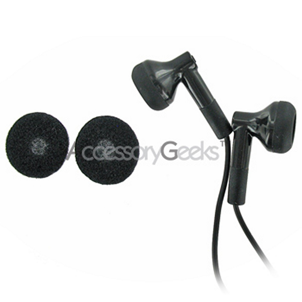 Black Universal Ear Bud Headset w/ Ear Cushions - (3.5mm)