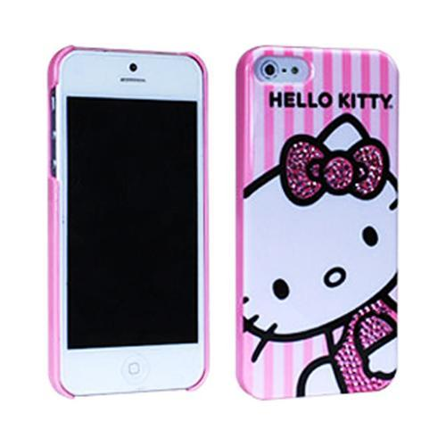 Hello Kitty w/ Pink Gem Bow on Stripes Hard Case for Apple iPhone 5/5S