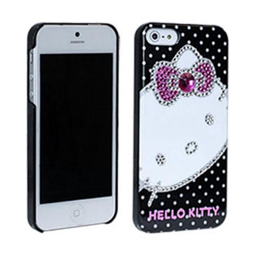 Hello Kitty w/ Silver & Pink Gems on White Polka Dots Hard Case for Apple iPhone 5/5S