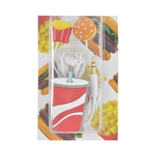 Original DCI Universal Ear Bud Headset (3.5mm) w/ Cord Wrapper, 32387 - Hamburger, Fries w/ Drink