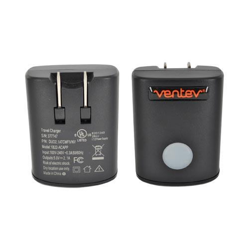 Original Ventev Universal Travel Charger w/ 2 USB Ports & Apple Charge Cable (2100 mAh), 377747 - Black