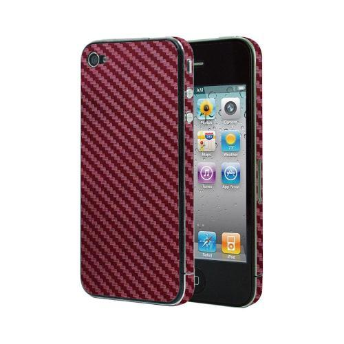 OEM Luardi Apple iPhone 4/4S Reusable Protective Skin w/ Screen Protector - Red Carbon Fiber Design