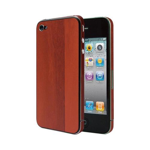 OEM Luardi Apple iPhone 4/4S Reusable Wood Texture Protective Skin w/ Screen Protector - Brown Oak