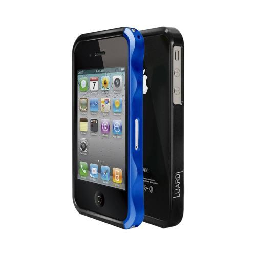 OEM Luardi Apple iPhone 4/4S Slim Aluminum Bumper Case w/ Screen Protector - Blue/ Black
