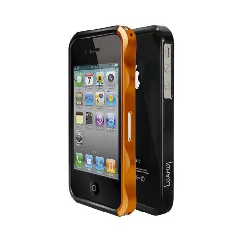 OEM Luardi Apple iPhone 4/4S Slim Aluminum Bumper Case w/ Screen Protector - Orange/ Black