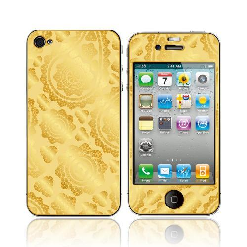 OEM Luardi Apple iPhone 4/4S 24 KT Yellow Gold Plated Metallic Protective Skin - Paisley