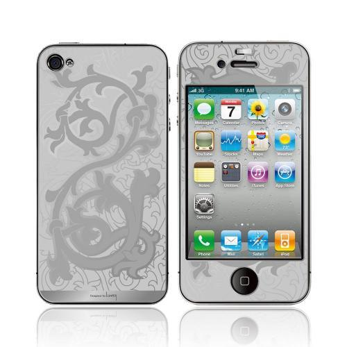 OEM Luardi Apple iPhone 4/4S 24 KT White Gold Plated Metallic Protective Skin - Vines