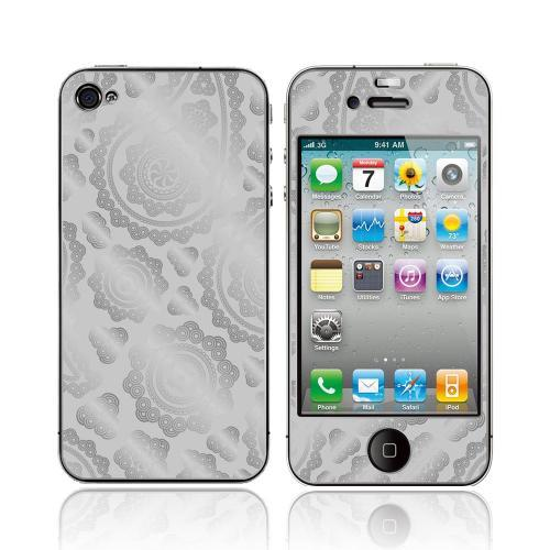 OEM Luardi Apple iPhone 4/4S 24 KT White Gold Plated Metallic Protective Skin - Paisley