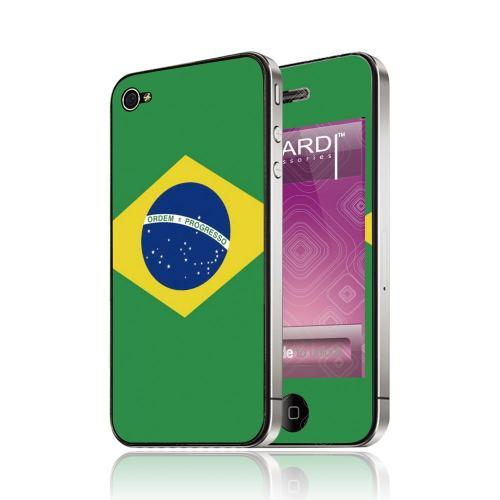 OEM Luardi Apple iPhone 4/4S Reusable Protective Skin - Brazilian Flag