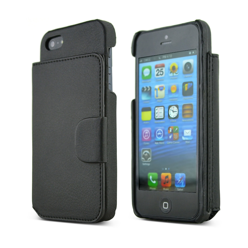 Thumbs Up! Carbon Fiber iWallet Leather Hard Case w/ ID Slots and Magnetic Closure for Apple iPhone 5