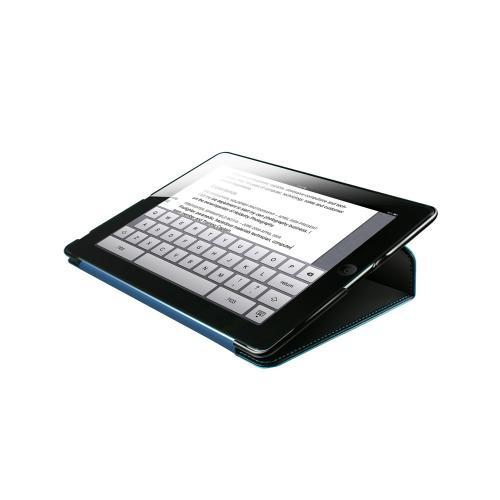 Hornettek Tai-chi Series Black Hard Case Folio w/ Blue Stitching for Apple iPad (3rd & 4th Gen.)