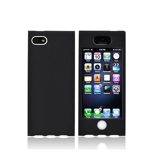 Premium Apple iPhone 5 Hard Case Over Silicone - Black/ White