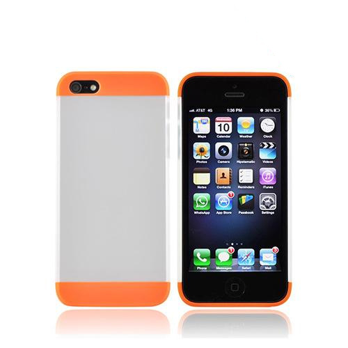 Premium Apple iPhone 5/5S Slide-On Hard Case - Neon Orange/ Frost White