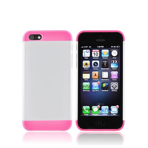 Premium Apple iPhone 5/5S Slide-On Hard Case - Hot Pink/ Frost White