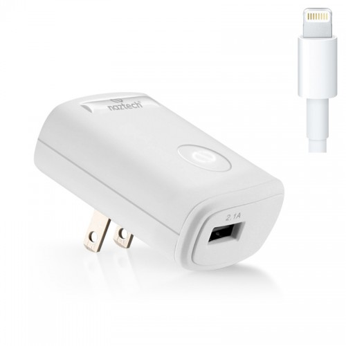 Naztech White Rapid Wall Charger w/ Lightning Connector & 4 ft. Cable (2100 mAh) - MFI Certified