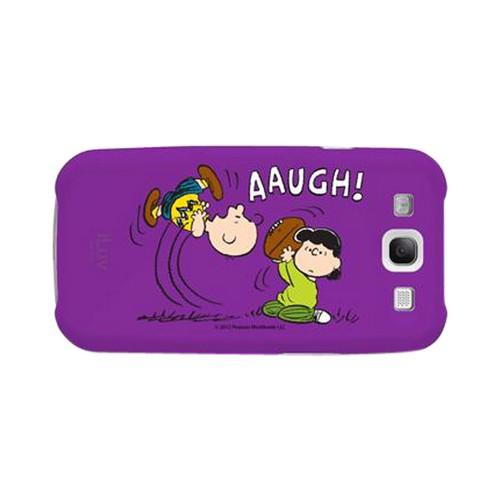 iLuv Peanuts Lucy & Charlie Brown on Purple Rubberized Hard Case for Samsung Galaxy S3
