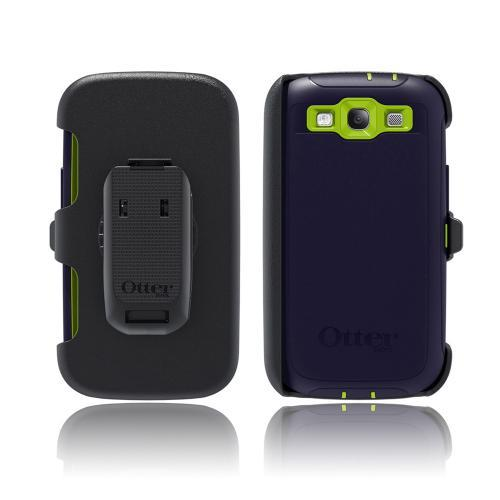OEM Otterbox Samsung Galaxy S3 Defender Series Silicone Over Hard Case w/ Holster - Atomic Navy/ Lime Green