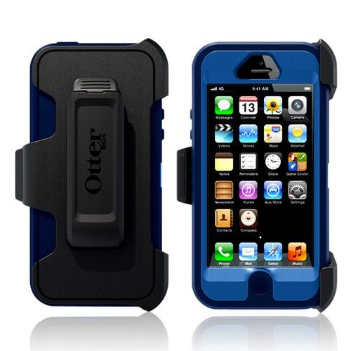 Otterbox Blue/ Navy Blue Defender Series Silicone Over Hard Case w/ Holster & Screen Protector for Apple iPhone 5