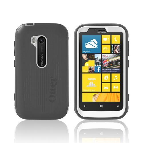Otterbox Gray/ White Defender Series Silicone Over Hard Case w/ Holster & Screen Protector for Nokia Lumia 822