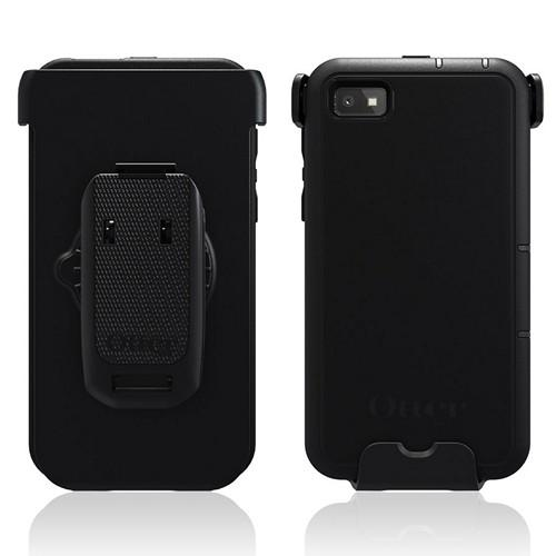 Otterbox Black Defender Series TPU Over Hard Case w/ Holster & Built-In Screen Protector for Blackberry Z10