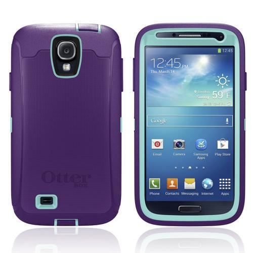 Otterbox Lily (Purple/ Aqua) Defender Series TPU Over Hard Case w/ Holster & Built-In Screen Protector for Samsung Galaxy S4