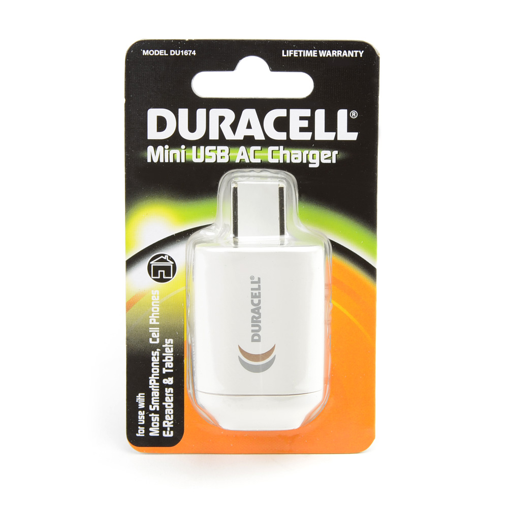 Duracell White Universal USB Travel/ Home Charger Adapter (1A) - DU1674