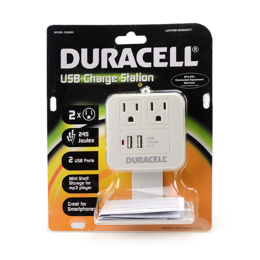 Duracell White Dual Surge Protected Sockets & Dual USB (2.1A) Charging Station w/ Shelf - DU6203