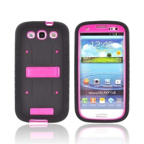 Samsung Galaxy S3 Duo Shield Silicone Over Hard Case w/ Screen Protector - Black/ Hot Pink