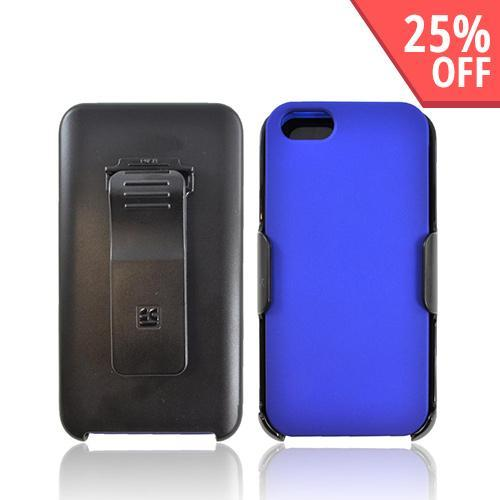 Apple iPhone 5/5S Rubberized Hard Case w/ Holster  Swivel Belt Clip & Screen Protector - Blue/ Black