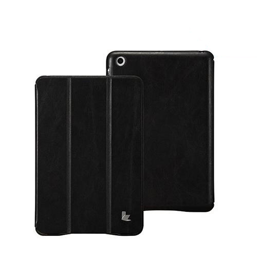 Jisoncase Black Vintage Style Handmade Genuine Leather Smart Cover Case for iPad Mini