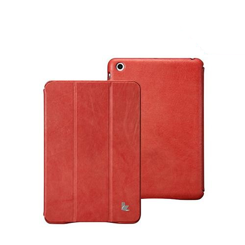 Jisoncase Red Vintage Style Handmade Genuine Leather Smart Cover Case for iPad Mini