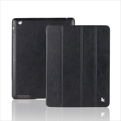 Jisoncase Black Vintage Style Handmade Genuine Leather Smart Cover Case for iPad 2/3/4