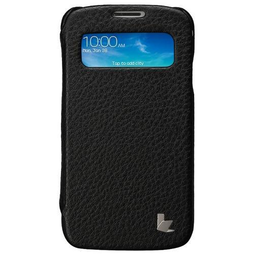 Black JisonCase Handmade Executive Genuine Leather Folio Case w/ S-View for Samsung Galaxy S4