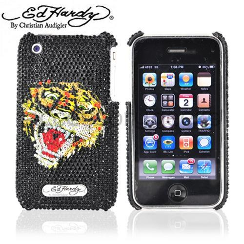 Original Ed Hardy Apple iPhone 3G 3GS Bling Hard Case - Tiger Design on Black Gems