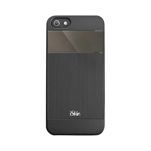 OEM iSkin Aura Apple iPhone 5/5S Ultra Slim Hybrid Hard Case w/ Aluminum Back  ARIPH5-BK2 - Black/ Gray