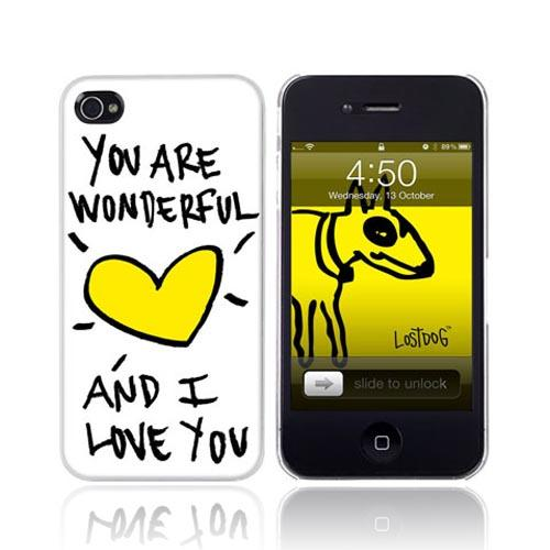 Original Lost Dog Apple iPhone 4 Hard Case w/ Screen Protector, 7369-LDPW - You Are Wonderful on White