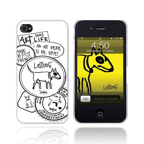 Original Lost Dog Apple iPhone 4 Hard Case w/ Screen Protector, 7372-LDPW - Black Design on White