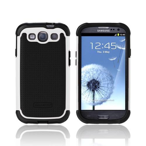 OEM Ballistic Samsung Galaxy S3 Hard Case on Silicone, SG0930-M385 - Black/ White
