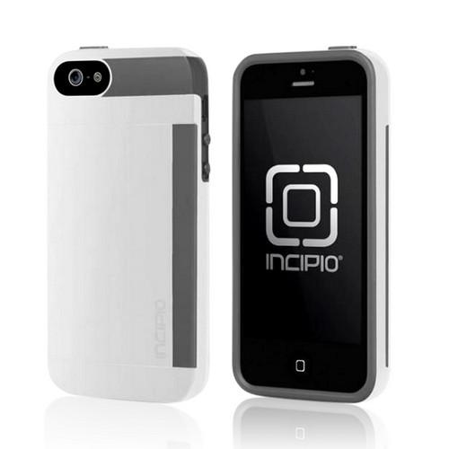 White/ Gray OEM Incipio Stowaway Hybrid Hard Case & Crystal Silicone Lining w/ ID & Card Compartment & Screen Protector for Apple iPhone 5/5S