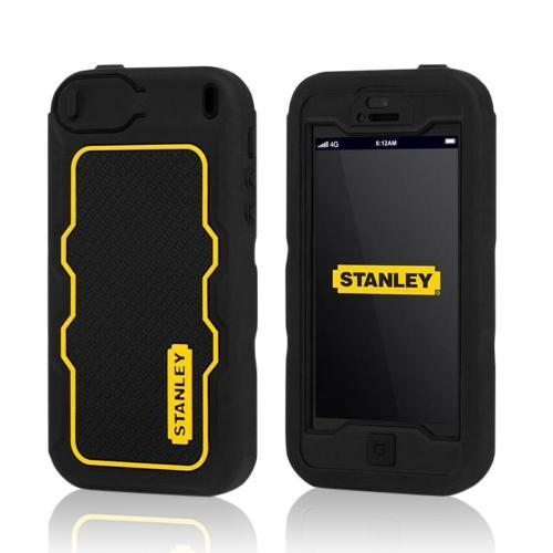 Yellow/ Black Rugged Silicone Cover on Hard Case w/ Holster & Screen Protector for Apple iPhone 5 Incipio Stanley Dozer Series