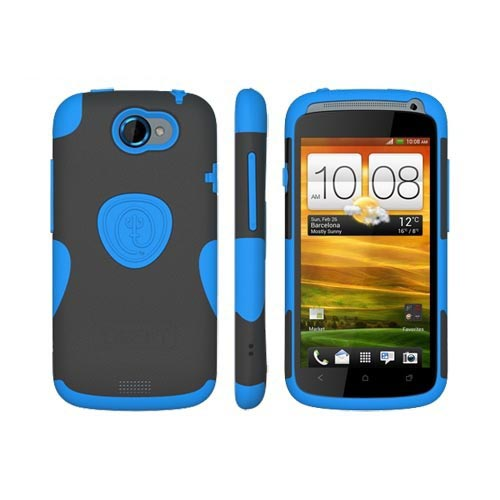Original Trident HTC One S Aegis Hard Case Over Silicone w/ Screen Protector, AG-VILLE-BL - Sky Blue/ Black