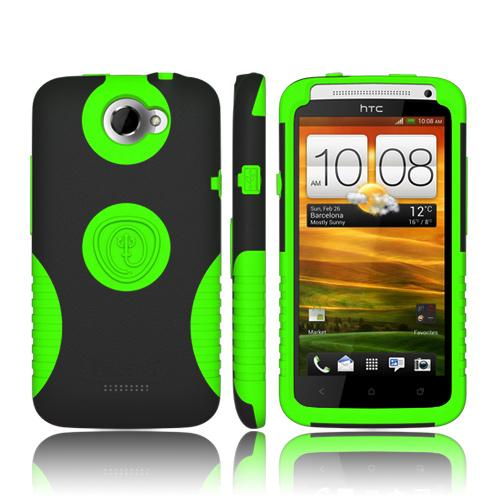 Trident Aegis HTC One X Hard Case Over Silicone w/ Screen Protector - Lime Green/ Black