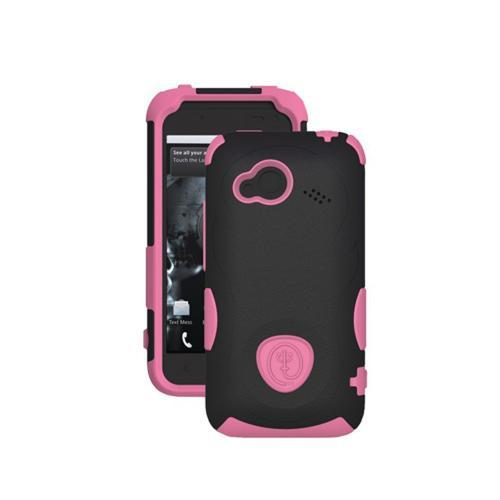 Trident Aegis HTC Droid Incredible 4G LTE Hard Case Over Silicone w/ Screen Protector - Pink/ Black