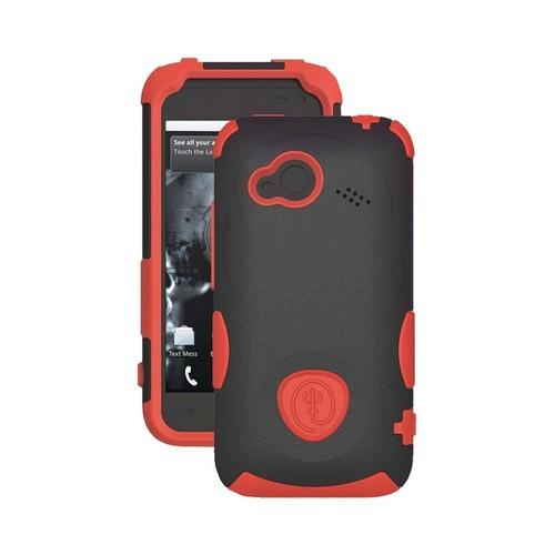 Trident Aegis HTC Droid Incredible 4G LTE Hard Case Over Silicone w/ Screen Protector - Red/ Black
