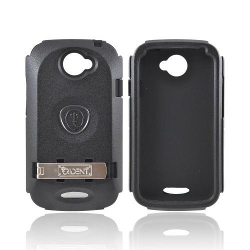 OEM Trident Kraken AMS HTC One S Hard Case Over Silicone w/ Screen Protector, Kickstand, & Belt Clip - Black